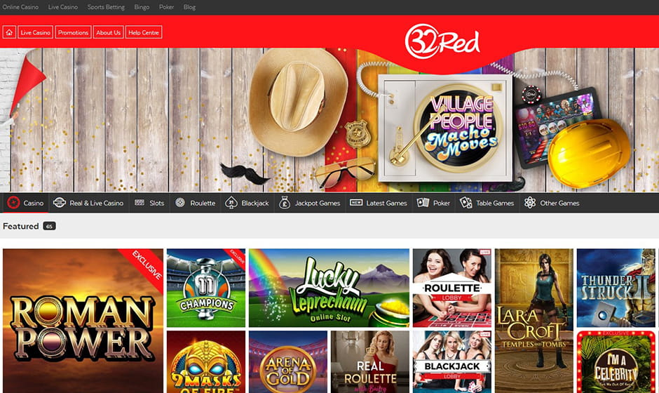 The 32Red casino homepage.