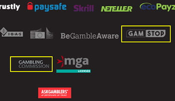 Image showing the footer of Dunder casino. There is a yellow circle around the UK Gambling Commission logo.