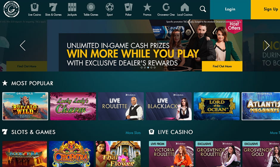 View of the homepage at the Grosvenor Casino site.