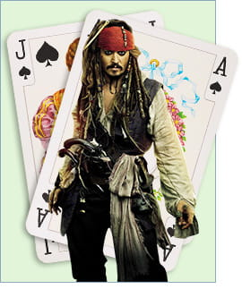 Blackjack hand with Jack Sparrow