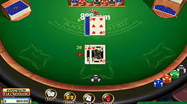 screenshot of a blackjack table from 888 casino
