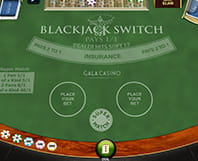 Online Blackjack Switch table with chips