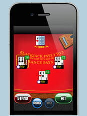 A game of blackjack on a mobile phone