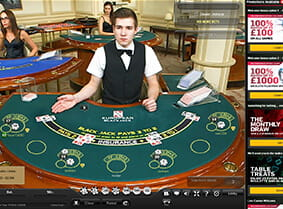 A live session of blackjack at Betfair Casino