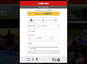 Preview of the Ladbrokes Casino registration form