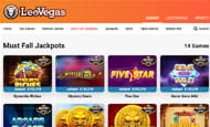 The LeoVegas website screenshot with details on a number of slot games.