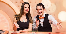 Two professional croupiers at the LeoVegas online casino welcome you to one of the many popular games.