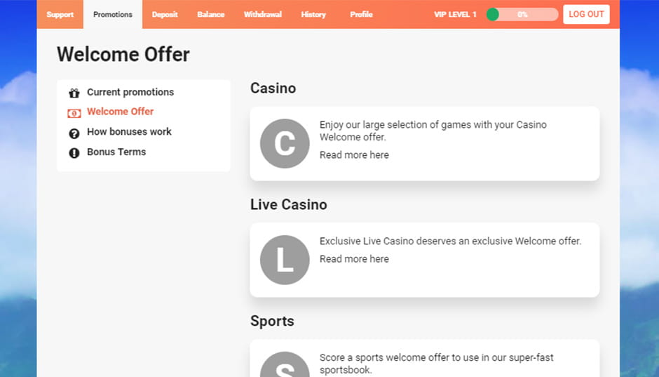 A screenshot of the LeoVegas promotions page showing the welcome bonus options.