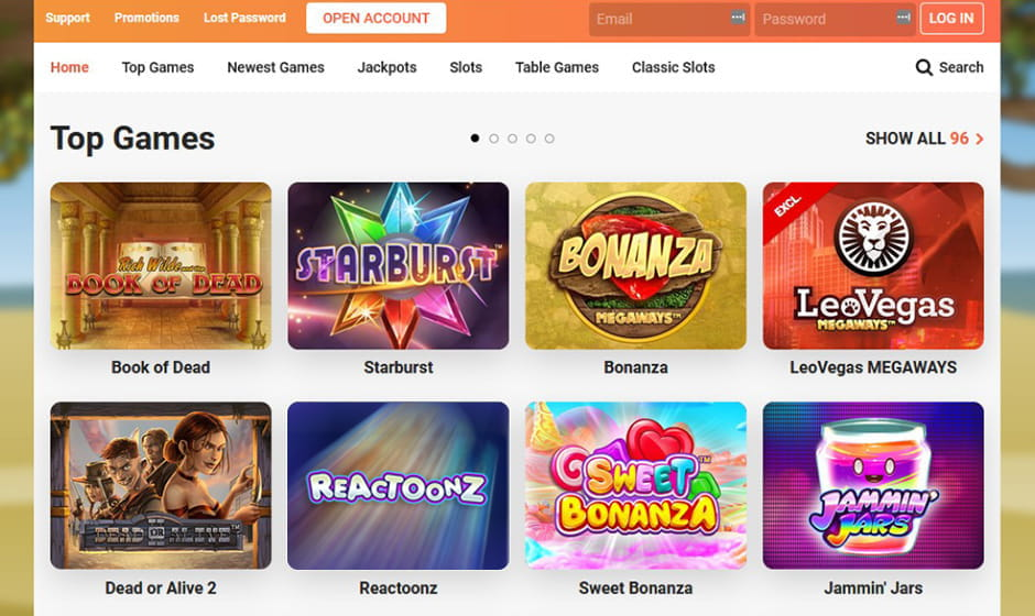 A screenshot of the LeoVegas website showing a selection of slot games and banner promotions.