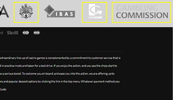 A screenshot of the Mansion Casino website footer showing the UK Gambling Commission logo, Gamble Aware logo, Thawte Security logo, as well as the logo of Gibraltar gambling licencing agencies.