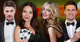A picture showing the professional dealers at the Mansion Casino live casino.