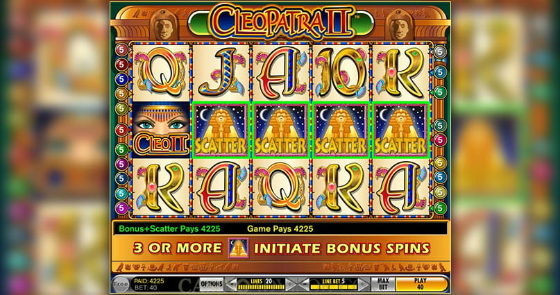 The Cleopatra II slot game in play.