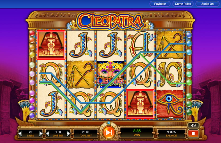The Cleopatra slot game in action.