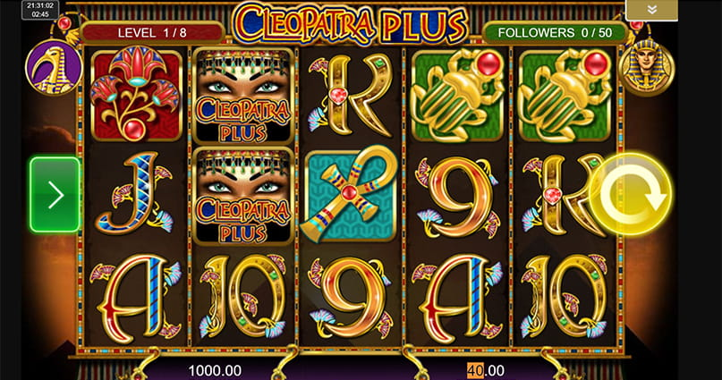 The Cleopatra Plus slot mid-game.