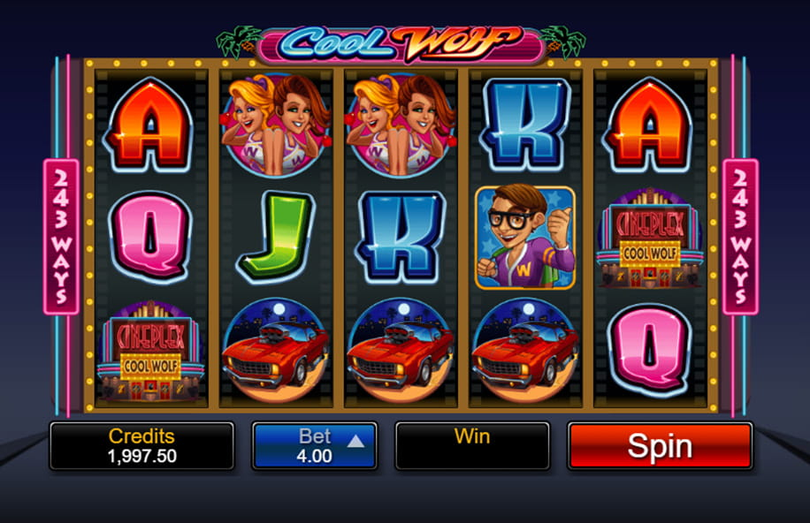 The Cool Wolf slot game in action.