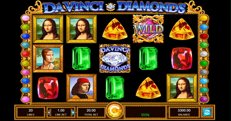 The jewelled reels of IGT's Da Vinci Diamonds slot.