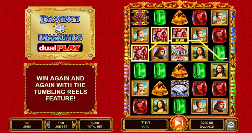 The Da Vinci Diamonds Dual Play slot game in play.