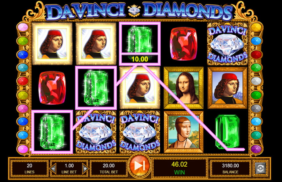 A coloured line shows a winning payline in Da Vinci Diamonds