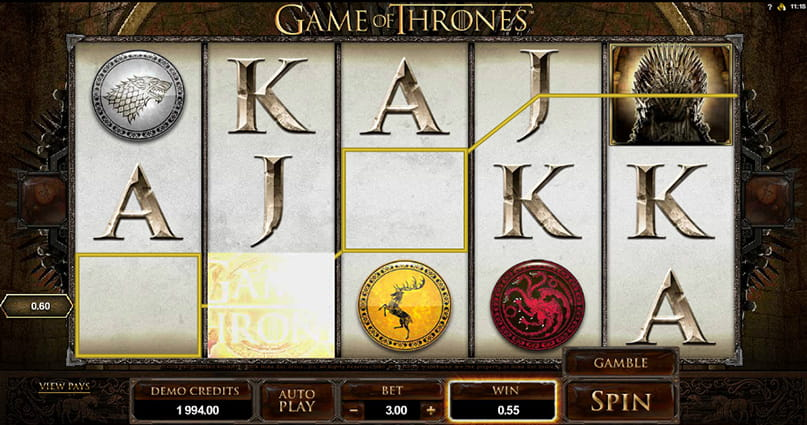 The Game of Thrones 15 ways slot game in-play.