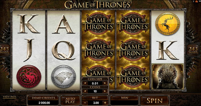 The Game of Thrones 243 Ways online slot game from Microgaming, with themed icons.