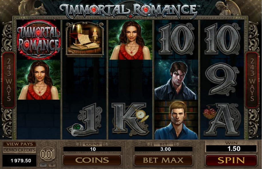 A winning payline in the Immortal Romance slot from Microgaming.
