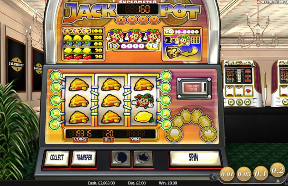 Supermeter mode in Jackpot 6000, which allows for a jackpot-sized win.