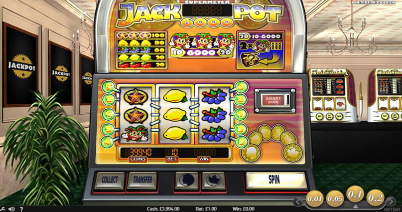 The Jackpot 6000 online slot game.