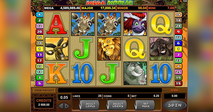 Mega Moolah slot from Microgaming with the African safari theme.