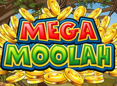 Logo of the African-themed Mega Moolah slot from Microgaming.