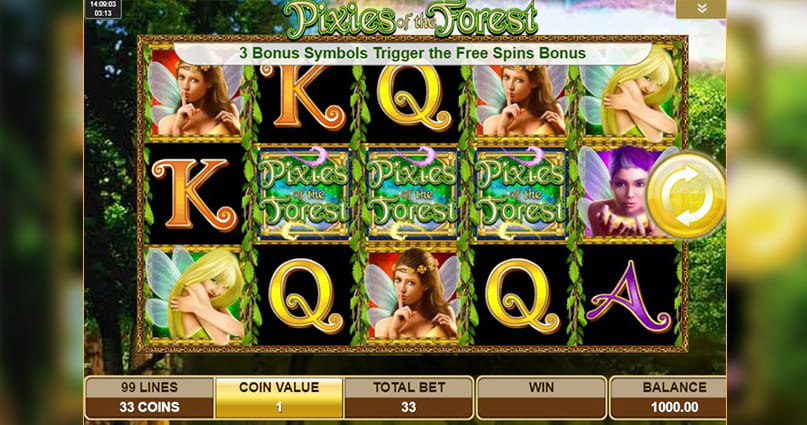 The five-reel, three-row grid of the IGT slot, Pixies of the Forest.
