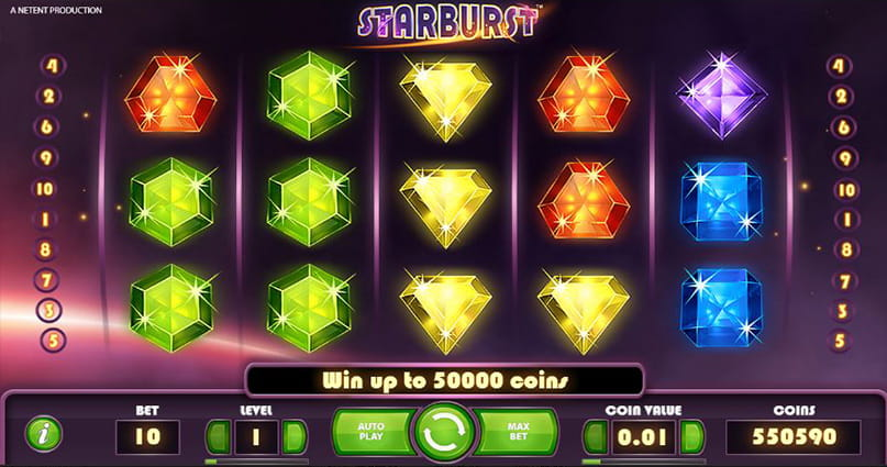 The five-reel, three-row grid of the Starburst slot from NetEnt