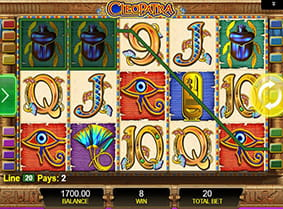 A winning payline in the Cleopatra slot game.