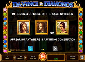 Rules of the Da Vinci Diamonds bonus round