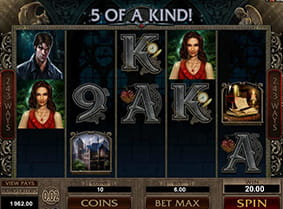 Five matching symbols results in a win in the Immortal Romance slot.