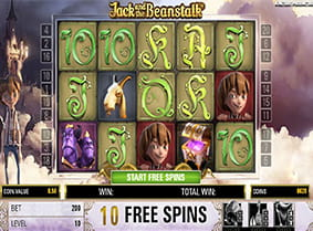 The free spins bonus round in the Jack and the Beanstalk slot game.