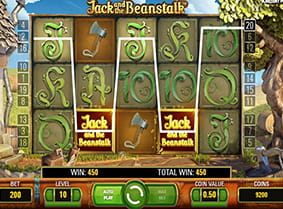 A winning payline with wilds in the Jack and the Beanstalk slot game.