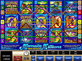The colourful Mermaids Millions game criss-crossed by fifteen zig-zagging paylines.