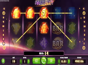 A winning payline in Starburst online slot