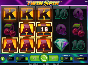 Winning paylines in the Twin Spin online slot.